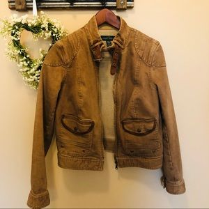 Ralph Lauren Aztec Brown Denim Moto Jacket